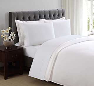 Charisma 310 Thread Count Classic Dot Cotton Sateen Queen Sheet Set in Bright White
