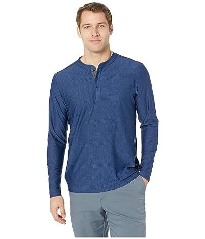 adidas Golf Adicross Mesh Stripe Long Sleeve Henley (Dark Blue Heather) Men