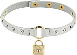 GUESS - Studded Faux Leather Choker with Logo Lock Necklace
