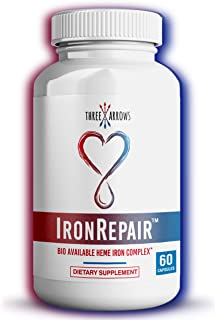 Iron Repair - Heme Iron Supplement, Best Absorption & Gentle on Stomach, Healthy Hemoglobin & Ferritin Iron Pills for Wome...