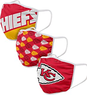 Compatible with Kansas City Chiefs NFL Football Gametime Foco Pack of 3 Adult Face Covering Mask