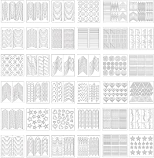 1275 Pieces 49 Designs Nail Art Stencils French Tip Guides Stickers Form Fringe Guides Vinyl 36 Sheets