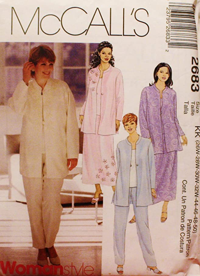 OOP McCall's Pattern 2683. Women's Plus Szs 26W,28W,30W,32W Unlined Jacket. Top, Pull-on Pants & Skirt