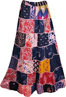 Mogul Interior Women's Summer Beach Maxi Skirt Colorful Printed Patchwork Skirt S/M
