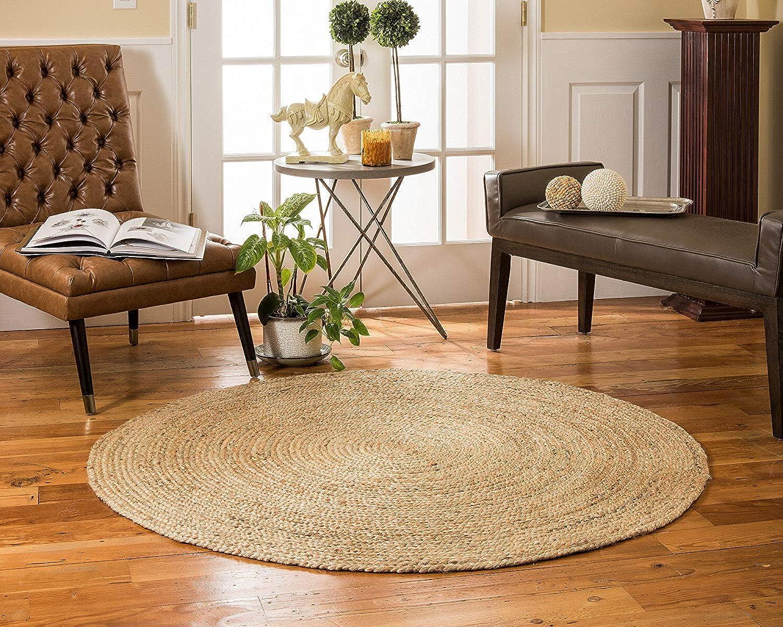 Icrafty 150x150 cm round hand braided natural jute area rug