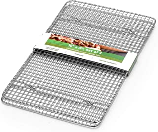 Spring Chef 100% Heavy Duty Stainless Steel Baking Rack & Cooling Rack, Oven Safe, 10x15 Inches Set of 2, Fits Jelly Roll Pan