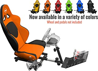 Openwheeler GEN2 Racing Wheel Stand Cockpit Orange on Black | Fits All Logitech G29 | G920 | All Thrustmaster | All Fanatec Wheels | Compatible with Xbox One, PlayStation, PC Platforms