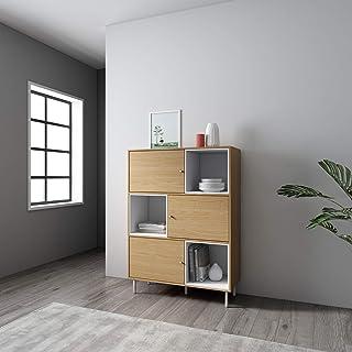 Mc Haus KUMA - Estanteria Madera Natural y Blanco Librería de pared Salón Comedor Dormitorio de diseño Nórdico con 3 esta...