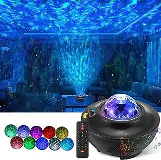 LED Sternenhimmel Projektor Lampe, Rotierende Wasserwellen Galaxy Light mit Fernbedienung und Bluetooth Lautsprecher, Proj...