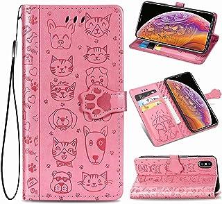 Oihxse Billetera Cuero Funda Compatible con Samsung Galaxy Note 10 Pro PU Libro Tapa Flip Soporte Plegable Protector Magnético Carcasa Gato Perro Lindo Animal Diseño Wallet Case-Rosa
