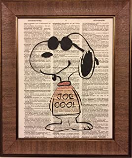 Joe Cool Snoopy Children's Bedroom Nursery Dictionary Book Page Artwork Print Picture Poster Home Office Bedroom Nursery Kitchen Wall Decor - unframed