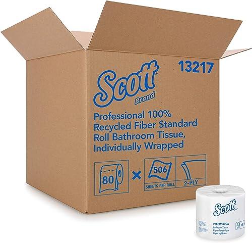 Scott Essential Professional 100% Recycled Fiber Bulk Toilet Paper for Business (13217), 2-Ply Standard Rolls, White,...