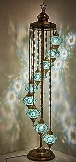 DEMMEX - 9 Big Globes Turkish Moroccan Mosaic Floor Lamp Light, Bohemian Boho Tiffany Mosaic Floor Lamp with North American Plug & Socket, 70