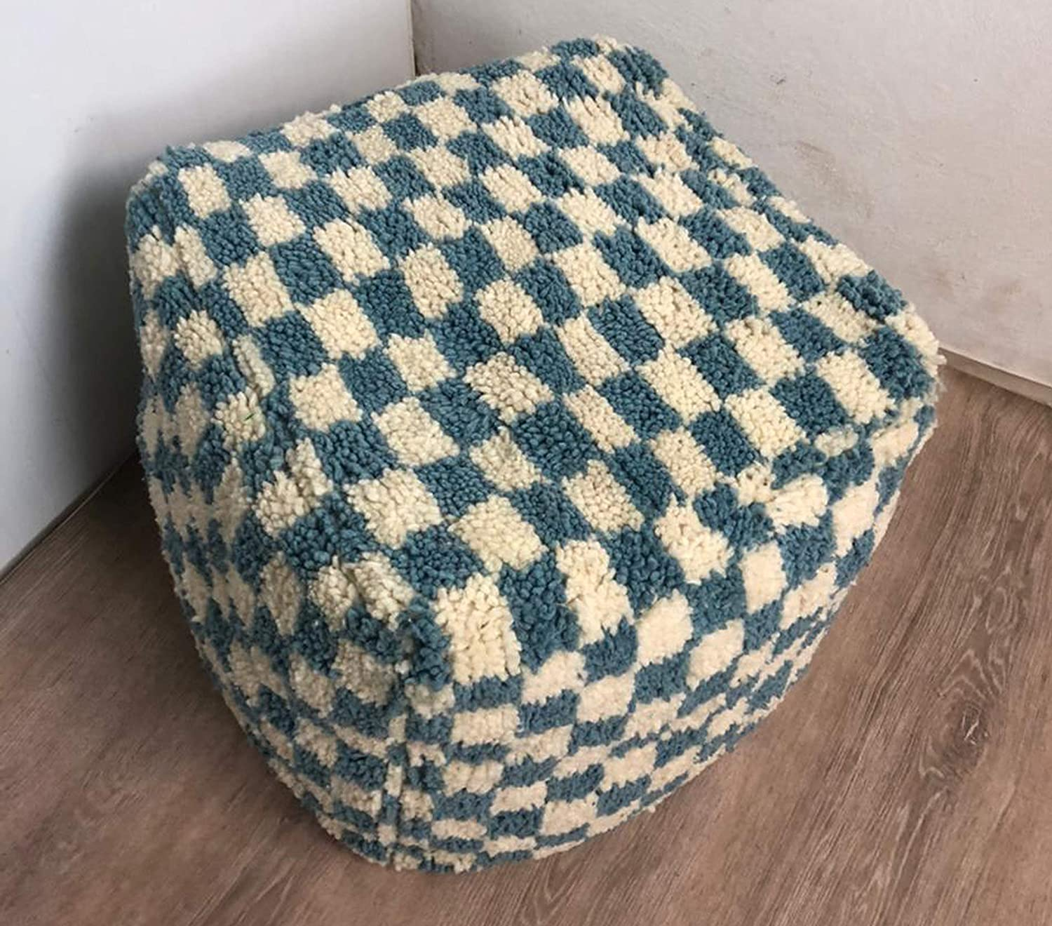 Large Moroccan Checkered Indianapolis Mall pouf cover Trust Ottoman Cush Floor Footstool