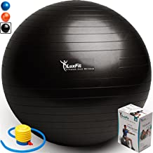 LuxFit Exercise Ball, Premium Extra Thick Yoga Ball '2 Year Warranty' - Swiss Ball Includes Foot Pump. Anti-Burst - Slip Resistant! 45cm, 55cm, 65cm, 75cm, 85cm Size Fitness Balls