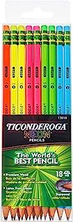 مدادهای نئون Ticonderoga ، شماره 2 مدادهای چوب قبل از تیز با پاک کن ، 18-تعداد ، 13018