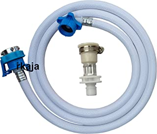 Irkaja 3 Meter Flexible PVC Washing Machine Water Inlet/Inflow Hose Pipe with 2 Type Tap Adapters/Connectors for Front & T...