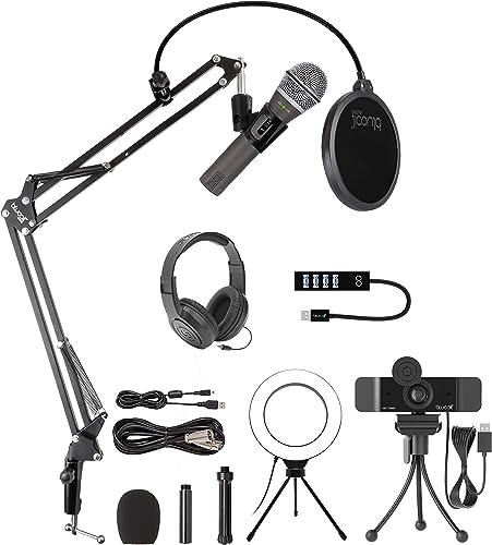 "popular Samson Q2U USB/XLR Dynamic Microphone for Windows, Mac, iOS, and lowest PA Mixers Bundle online with Blucoil 1080p USB Webcam, Boom Arm Plus Pop Filter, 6"" Ring Light, Samson SR350 Headphones, and USB-A Mini Hub outlet sale"