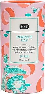 P & T Perfect Day, Loser Ganzblatt Bio Weißtee Master Blend, Chinesische Weißteemischung mit Früchten und Blumen, Deko-Dose 100g / 3.5oz