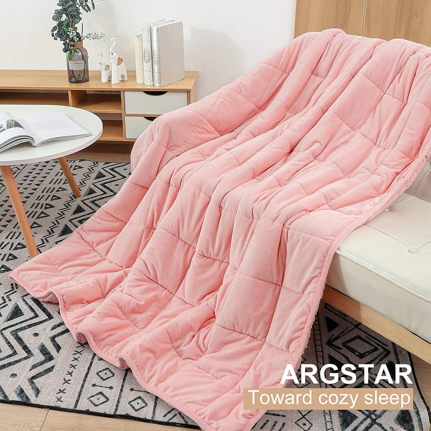 Argstar Sherpa Fleece Weighted Blanket for Kid 7 Lbs On Bed//Sofa//Travel 41x60 Pink. Soft Cozy Fuzzy Heavy Blankets with Premium Glass Beads