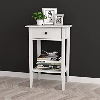 White Finish Nightstand Side End Table with Drawer and Shelf 28