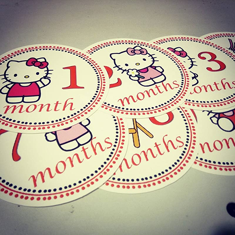 Monthly Baby Stickers Hellokitty Onesie Month Stickers Hello Kitty Kitty Kittycat