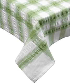 """Seersucker Square Checked Tablecloth 36"""" x 36"""" Cotton Check Table Linen (Sage Green)"""