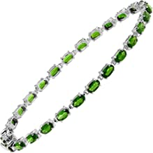 Natural Chrome Diopside Tennis Bracelet in Sterling Silver