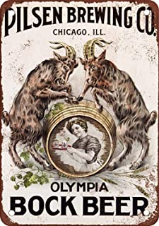 Ohuu 8×12 Olympia Bock Beer Metal Wall Sign Retro Plaque Poster Vintage Iron Sheet Painting Decoration Hanging Artwork Crafts Cafe Beer Bar