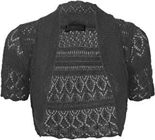 Women Ladies Knitted Short Sleeve Crochet Shrug Bolero Cardigan SZ 8-26