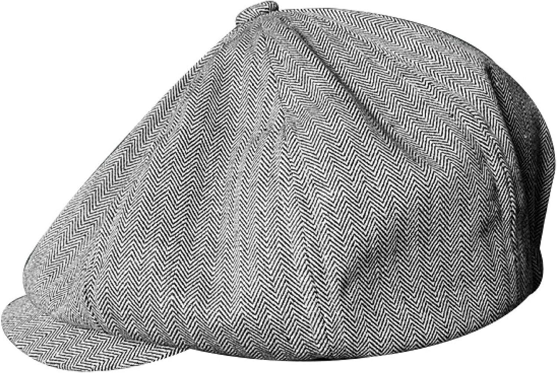Men's Simple Plain Summer Breathable Cotton and Linen Material Newsboy Hat Pumpkin Octagonal Hat Beret Painter Hat
