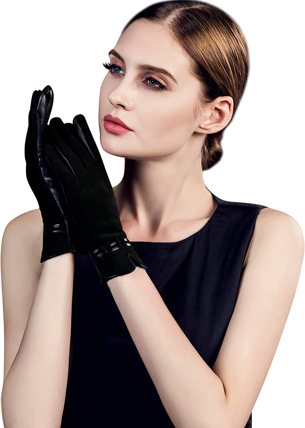 YISEVEN Womens Wool Lined Sheepskin Suede Touch Screen Leather Gloves Elegant