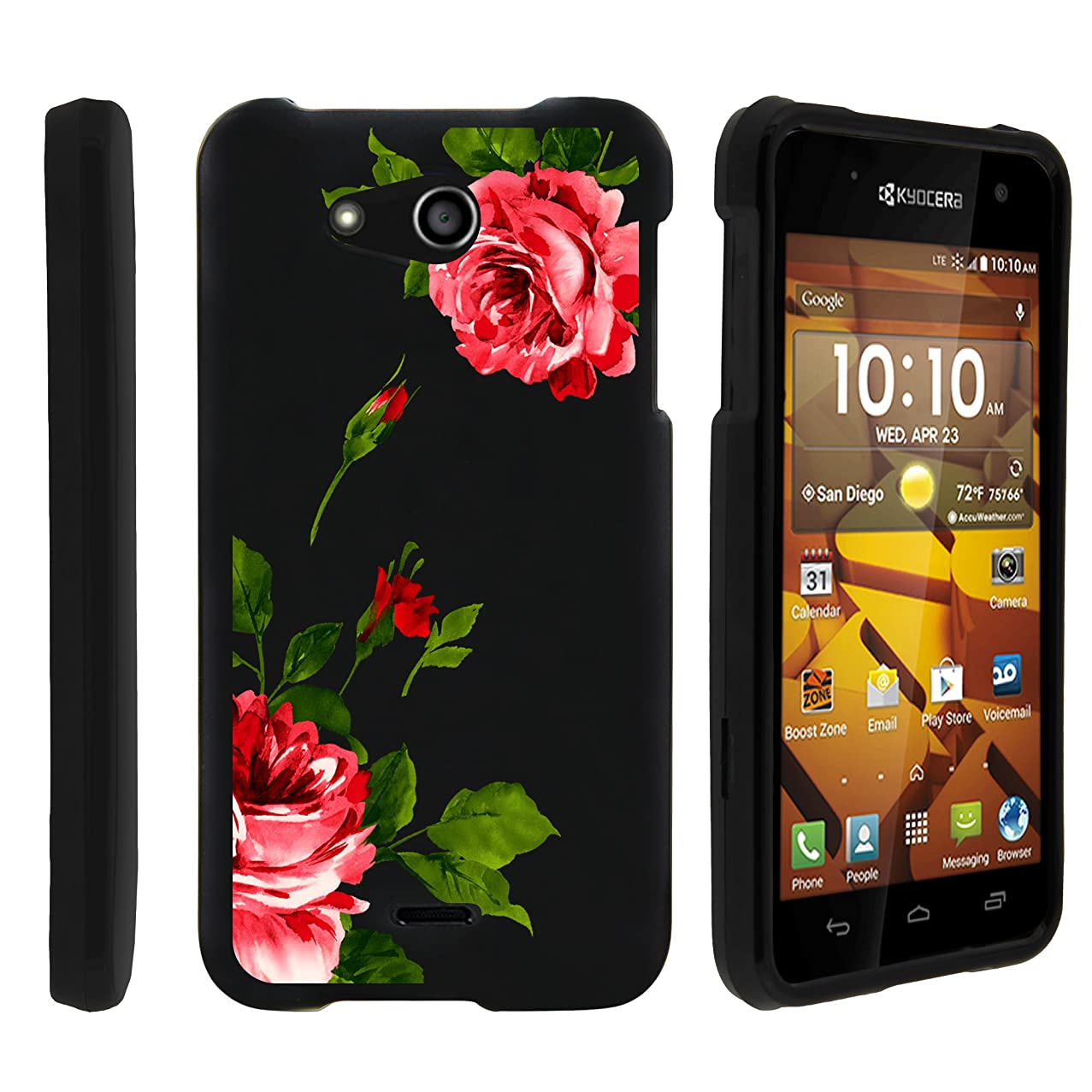 MINITUTLE Compatible with Kyocera Hydro Wave C6740, Kyocera Hydro Air Slim Fit Snap On Cover w/Unique, Customized Design Affectionate Flowers