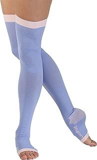 Lace Poet Purple Yoga/Sleep Thigh-High Compression Toeless Socks Size L-XL