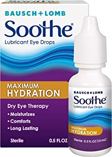 Bausch + Lomb Soothe Dry Eye Drops, Maximum Hydration Lubricant Eye Drops, 15 ml, 0.50 Fluid Ounce