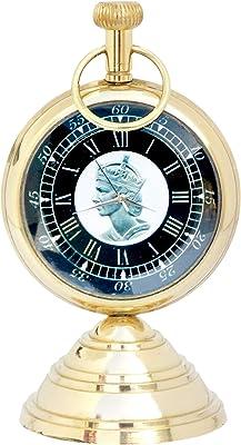 JD'Z COLLECTION Antique Brass Desk & Shelf Clock Nautical Desk Decor Paperweight Clock for Home Office Reception Counter Clock (Shiny-7 (Victorian Pocket Watch 1875))