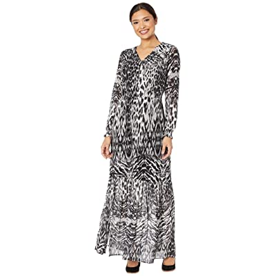 eci Animal Mesh Maxi with Button Front Details (Black/Gray) Women