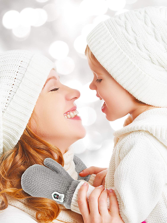 4 Pair Fleece Lined Mitten for Baby Kid Toddler Gloves Knit Thick Thermal Gloves (Black, Light Gray, Dark Gray, Blue)