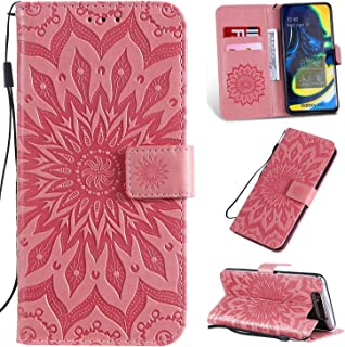 Pressed Printing Sunflower Pattern Horizontal Flip PU Leather Case for Galaxy A80, with Holder & Card Slots & Wallet & Lanyard New Hopezs (Color : Pink)