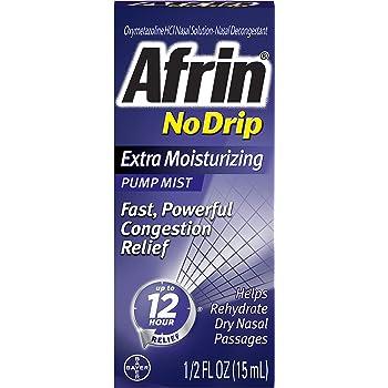 Afrin No Drip 12 Hour Pump Mist, Extra Moisturizing, .5-Ounce Pumps (Pack of 3)