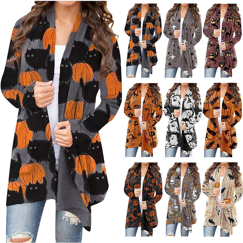 MASZONE Women's Halloween Pumpkin Skeleton Cardigan Long Sleeve Open Front Cardigans Lightweight Casual Loose Outwear