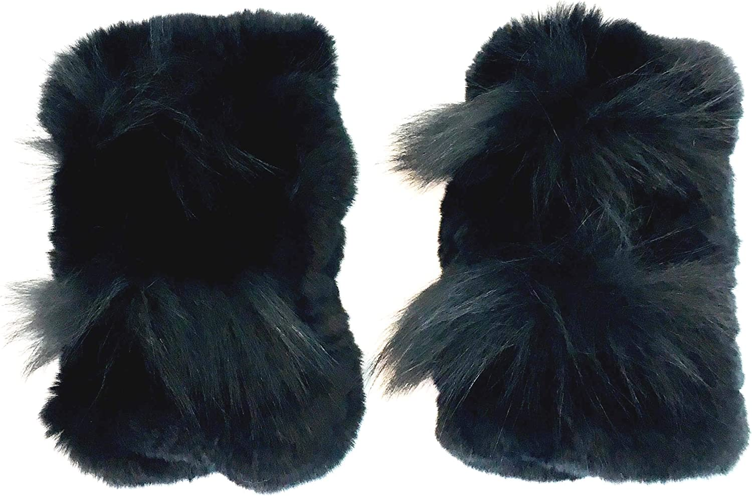 Surell Black Rex Rabbit Fur Textile Knit Fingerless Gloves with Fox Detail - Winter Texting Mittens - Luxury Cold Weather Clothing