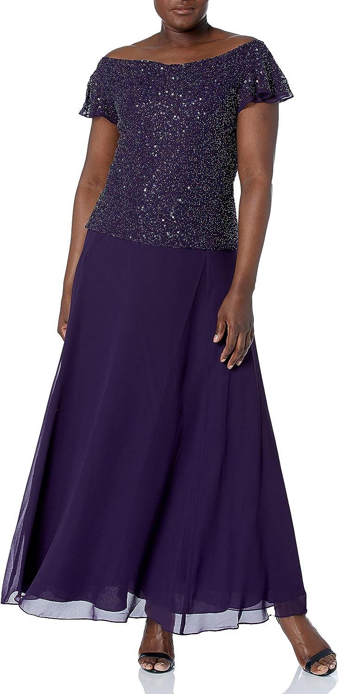 J Kara Women's Sequin Flutter Sleeve Long Dress