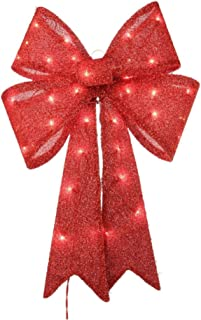 24 inch Christmas Red Tinsel Bow Decoration Pre Lit Lighted Outdoor Xmas Ornament Yard Party Decor