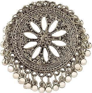 Efulgenz Boho Vintage Gypsy Indian Oxidized Silver Statement Big Size Adjustable Cocktail Ring with Bells Jewelry