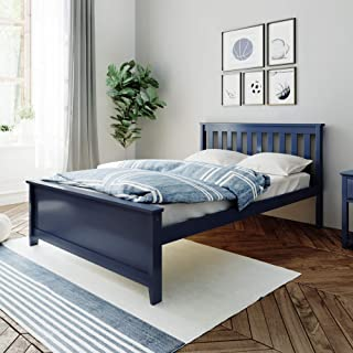 Max & Lily 180211-131 Solid Wood Full-Size Bed, Blue