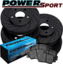 [FULL KIT]PowerSport Black Drilled Slotted Rotors and Ceramic Pads BBCC.62053.02