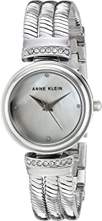 Anne Klein Women's AK/2759MPSV Swarovski Crystal Accented Silver-Tone Chain Bracelet Watch
