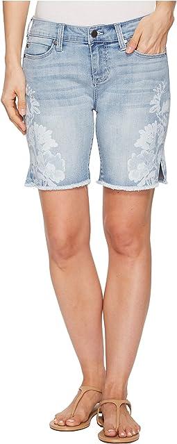 Liverpool - Corine Shorts Fray Hem w/ Slit in Vintage Super Comfort Stretch Denim in Mandalay Light