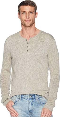 Long Sleeve Plated Henly w/ Rib Detail